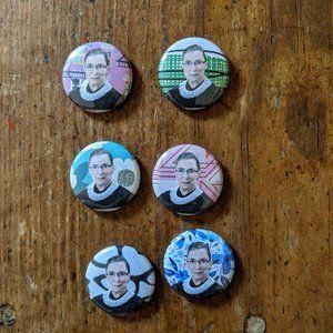 """Set of 6 Ruth Bader Ginsburg collage 1"""" pin backs"""